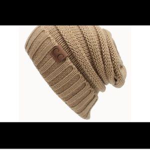 Camel slouchy knit cap